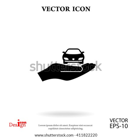 car with hand vector icon - stock vector