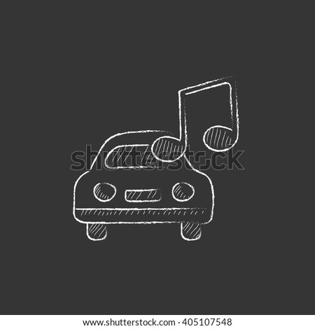 Car with music note. Drawn in chalk icon. - stock vector