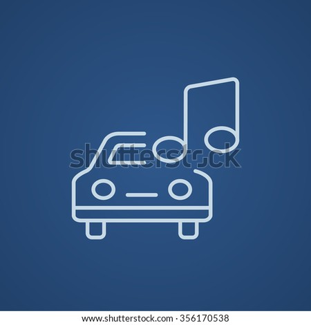 Car with music note line icon for web, mobile and infographics. Vector light blue icon isolated on blue background. - stock vector