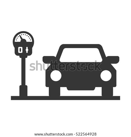 Car with Parking Meter Icon on White Background. Vector