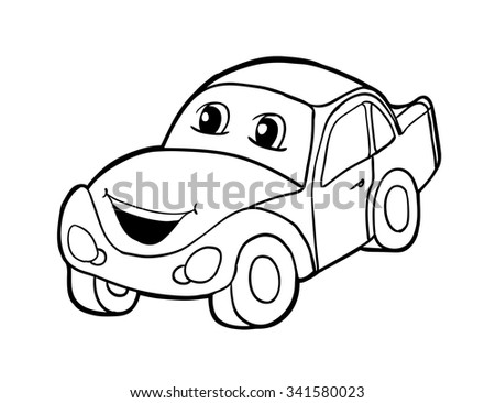 Car Smile Vector Illustration Coloring Book Stock Vector HD (Royalty ...