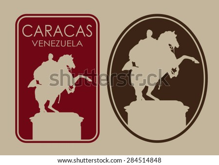 Caracas Venezuela Seal Label - stock vector