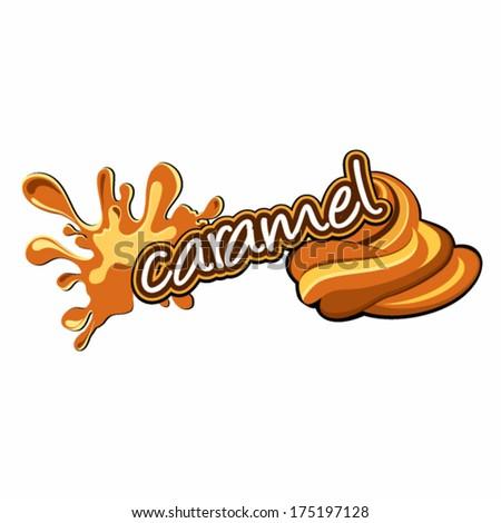 Caramel label design - stock vector