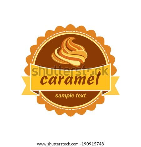 Caramel label design. - stock vector