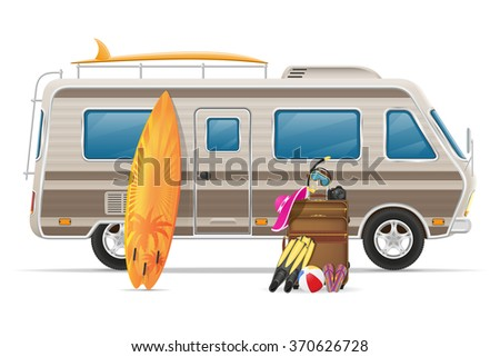 Caravan Camper Mobile Home With Beach Accessories Vector Illustration Isolated On White Background