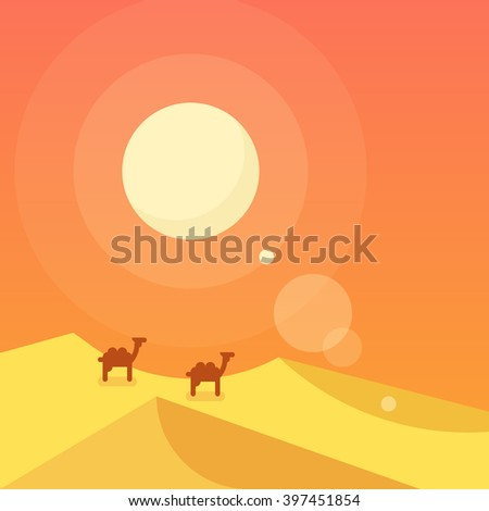 Caravan in a desert. Vector flat illustration. - stock vector