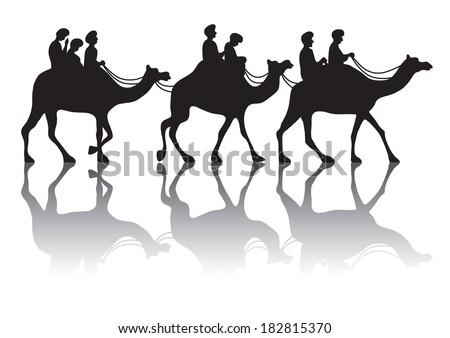 Caravan of camels - stock vector