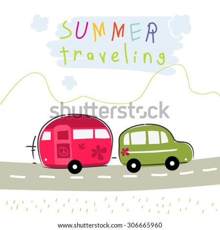 Caravan summer vacation travel. Road trip creative vector illustration. - stock vector