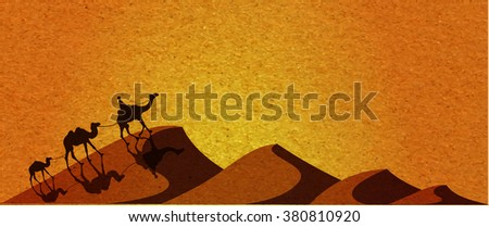 Caravan with camels in desert with dunes on background. Vector illustration - stock vector