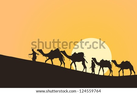 Caravan with camels in desert with sun on background - stock vector