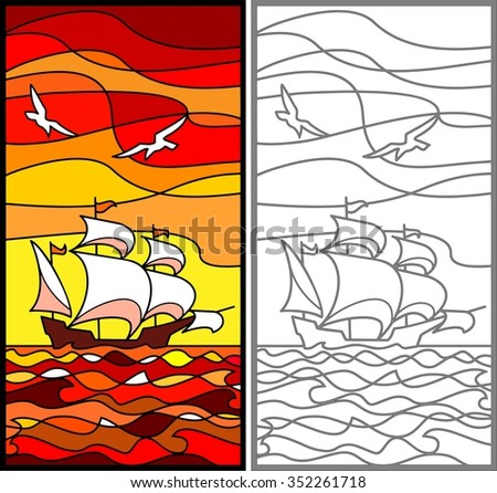 Caravel. Sailing vessel in the sea. Evening. Stained glass window, vertical - stock vector