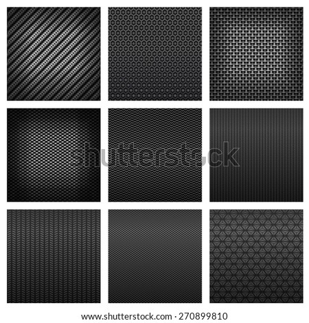 Carbon and fiber patterns with dark gray fabric textures, different types of weave on white background suited for luxury backdrop or modern technology design - stock vector