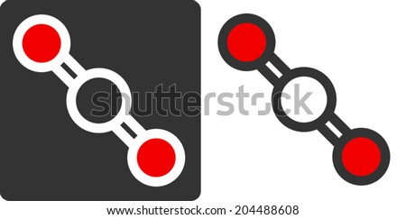 Carbon dioxide (CO2) molecule, flat icon style. Greenhouse gas. Atoms shown as color-coded circles (oxygen - red, carbon - white/grey). - stock vector