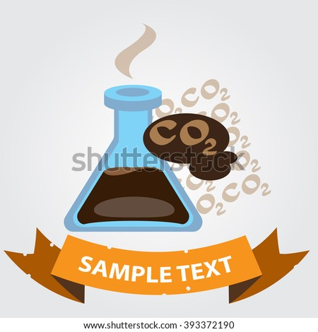 Carbon dioxide in vitro, CO2, chemical analysis logo with banner for text. - stock vector