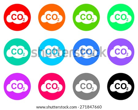 carbon dioxide vector web icon set - stock vector