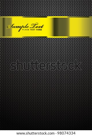 Carbon fiber background with gold banner for template work