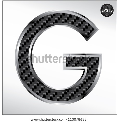 Carbon fiber font G capital letters isolated on white - stock vector