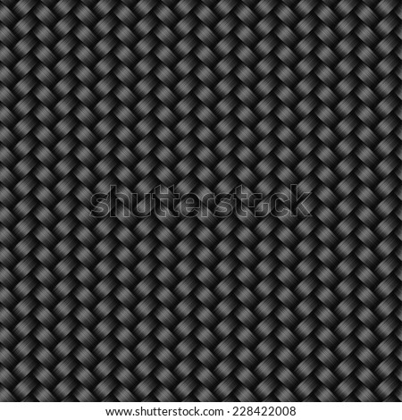Carbon fiber texture seamless pattern, vector background - stock vector