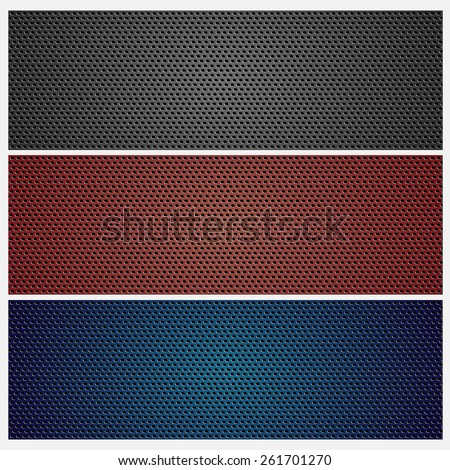 Carbon, metal grid texture set. Colored. Background - stock vector