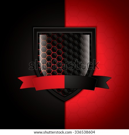 Carbon shield.Abstract black and red background.Vector illustration - stock vector