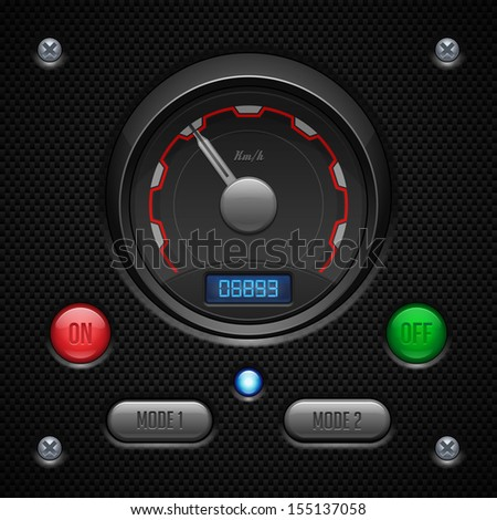 Carbon UI Application Software Controls Set. Switch, Button, Lamp, Car, Auto, Speedometr, Tachometer, Indicator, Detector, LED. Web Design Elements. Vector User Interface EPS10  - stock vector