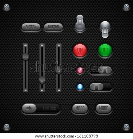 Carbon UI Application Software Controls Set. Switch, Knobs, Button, Lamp, Volume, Equalizer, LED, Unlock. Web Design Elements. Vector User Interface EPS10  - stock vector