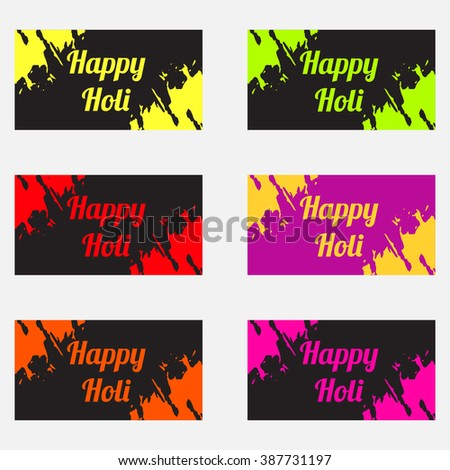 Card and banner set happy holi  Indian festival.Happy Holi spring festival of colors greeting vector background.Happy Holi vector sign on colorful paint splash and powder background .