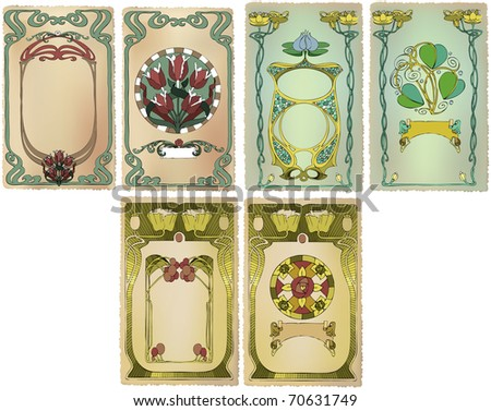 Card Art Nouveau collection  with a place - stock vector