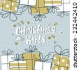 card banner with lettering and Christmas presents - stock vector