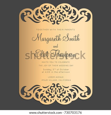 Card border design laser cutting machines stock vector 730703176 card border design for laser cutting machines wedding invitation or greeting card bellyband with abstract stopboris Gallery