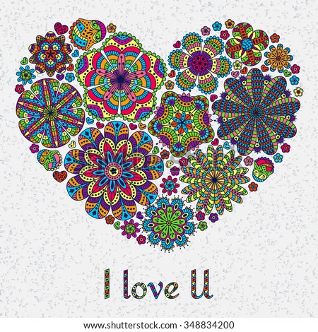Card design for Valentines day or lowers. Pattern with flowers . Heart shape.  Text I Love U.  Beautiful  floral background. Good for weddings, invitations, birthdays if you are falling in love. - stock vector