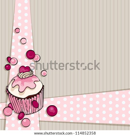 Card design. Muffin background. - stock vector