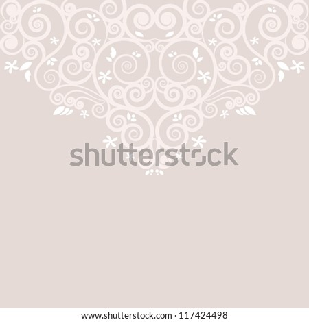 Card design. Spirals and flowers. - stock vector