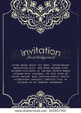Card design template. Can be used for invitation, menu, ottoman, card design, for pillow design, banners, signs and others. - stock vector