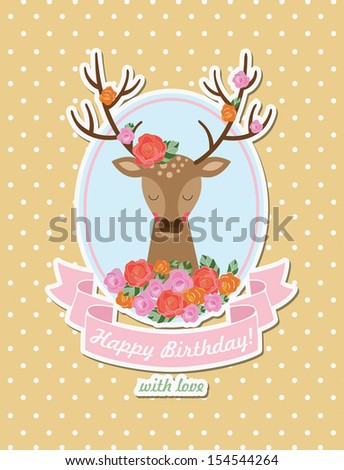 card design with cute deer. vector illustration - stock vector