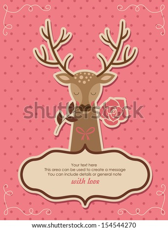 card design with cute deer. vector illustration