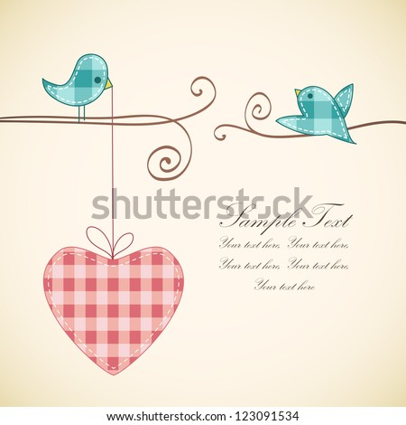 Card design with heart and birds. Valentine's idea for Your design. - stock vector
