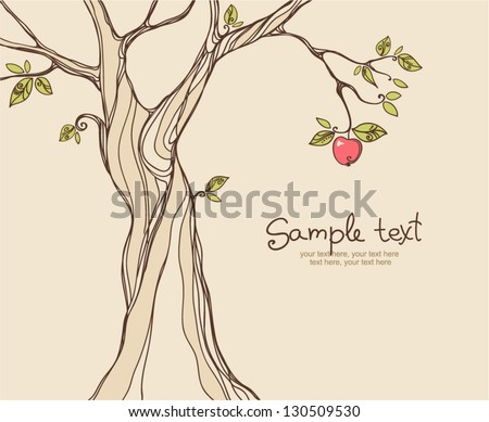card design with stylized apple tree - stock vector