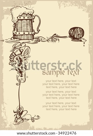 card design with woody beer mug, cancers and place for text - stock vector