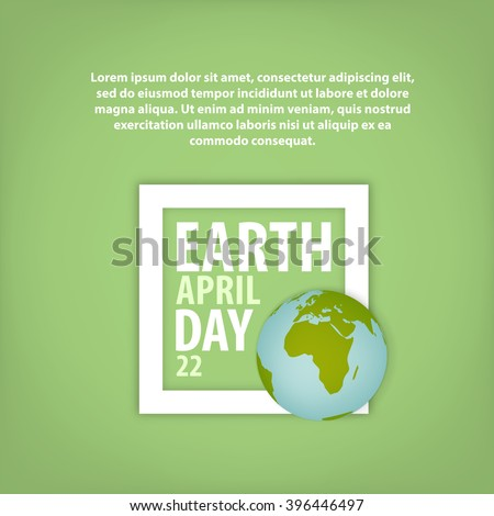Card Earth Day in a frame with the planet and example text