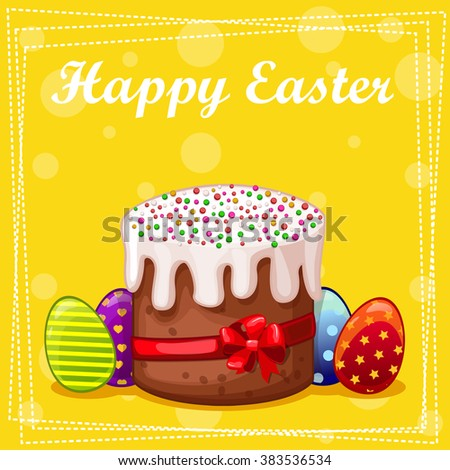 card Easter cake and eggs in vector