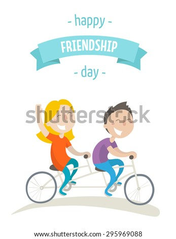 Card for a friendship day - two happy friends ride on tandem bicycle. Flat design. Vector illustration. Isolated on white background. - stock vector