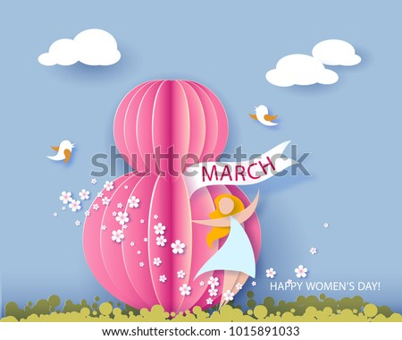 Card for 8 March women's day. Abstract background with text and flowers . Vector illustration. Paper cut and craft style.