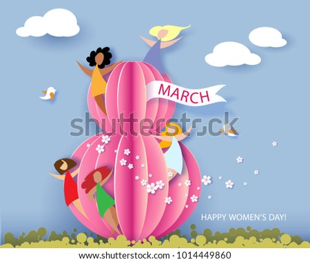 Card for 8 March Women's day. Abstract background with text, flowers and women different nationalities. Vector illustration. Paper cut and craft style.