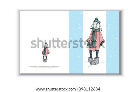 Card for text with hare's coat, gift card, greeting card with bunny, vector illustration, rabbit in the hat, winter card - stock vector