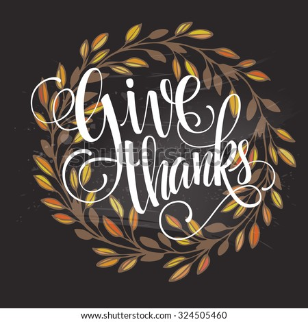 Card for Thanksgiving Day on the blackboard with floral design. Vector illustration EPS 10 - stock vector