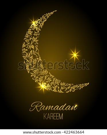 Card for the holiday Ramadan Kareem. Crescent from a floral ornament with gold glitter