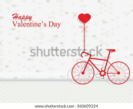 Card for Valentines day with bicycle and balloons heart shaped on brick wall background, vector illustration - stock vector