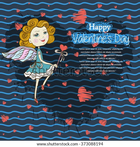 Card for your design  text ,messages,copyspace,textspace Happy Valentines Day with  dancing cute fairy with a magic wand,red hearts on a shadow from blots ink heart shape on blue background - stock vector