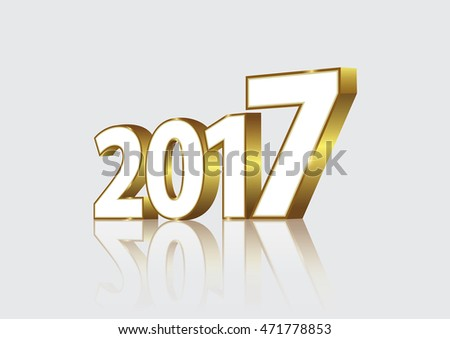 Card Happy New Year 2017 in 3D format